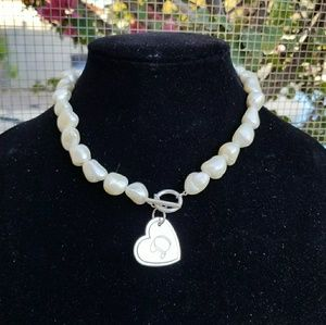 Sterling sliver Pearl necklace 80g